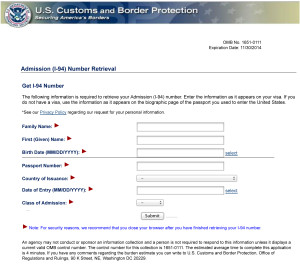 Screenshot of Online I-94 Retrieval Form